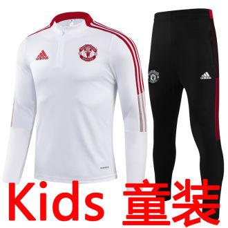 2021/22 M Utd White Kids Sweater Tracksuit