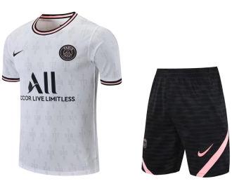2021/22 PSG White Short Training Jersey(A Set)拉链口袋