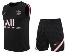 2021/22 PSG Black Pink Short Vest Jersey(A Set)拉链口袋