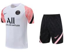 2021/22 PSG White Pink Short Training Jersey(A Set)拉链口袋