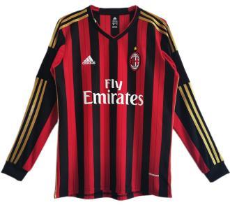2013/14 AC Milan Home Retro Long Sleeve Soccer Jersey