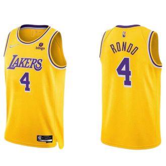 2021/22 Lakers RONDO #4 Yellow 75 Years NBA Jerseys Hot Pressed
