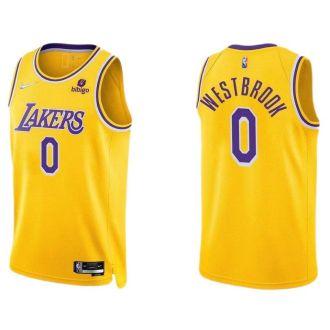 2021/22 Lakers WESTBROOK #0 Yellow 75 Years NBA Jerseys Hot Pressed