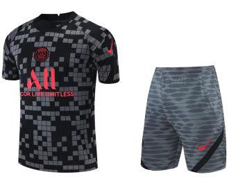 2021/22 PSG Grey Black Short Training Jersey(A Set)拉链口袋