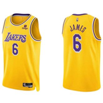 2021/22 Lakers JAMES #6 Yellow 75 Years NBA Jerseys Hot Pressed
