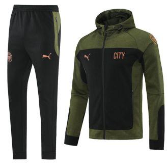 2021/22 M City Black Green Hoody Zipper Jacket Tracksuit