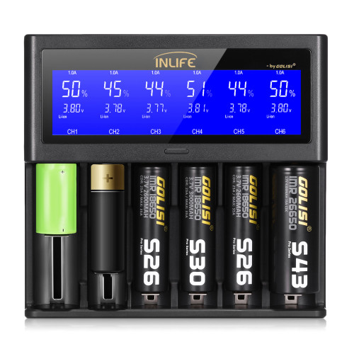 Golisi Inlife S6 2A 1A 0.5A Smart Battery Rechargeable Charger LCD Screen