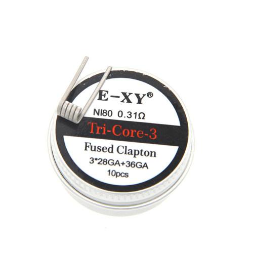 Ni80 Prebuilt Tri-Core Fused Clapton Coil 3x28GA+36GA 0.31ohm 10pcs