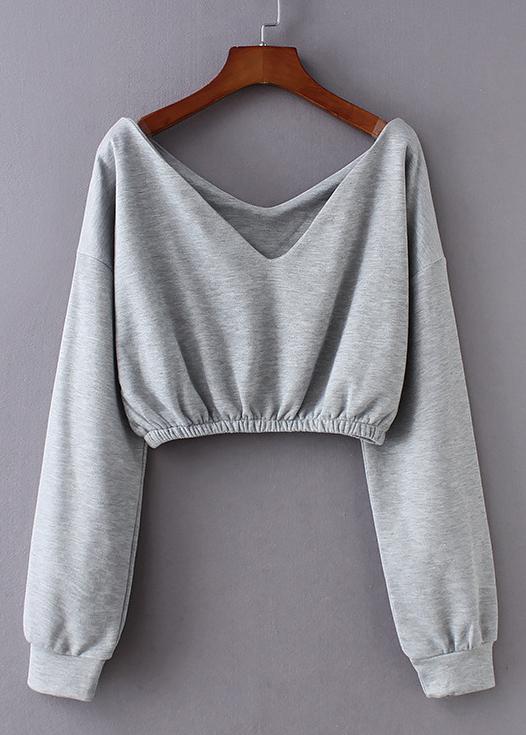 V-Neck Crop Sweatshirt
