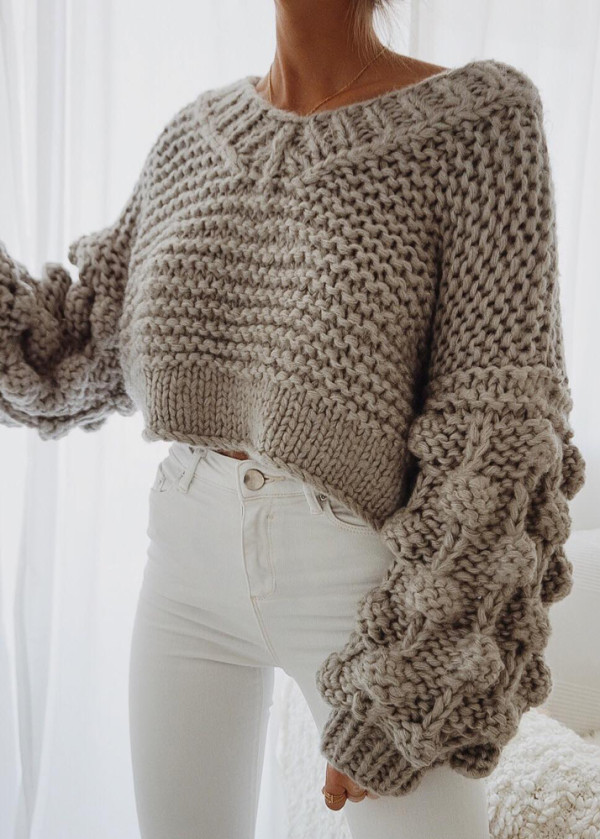 Pom Pom Detail V-Neck Sweater