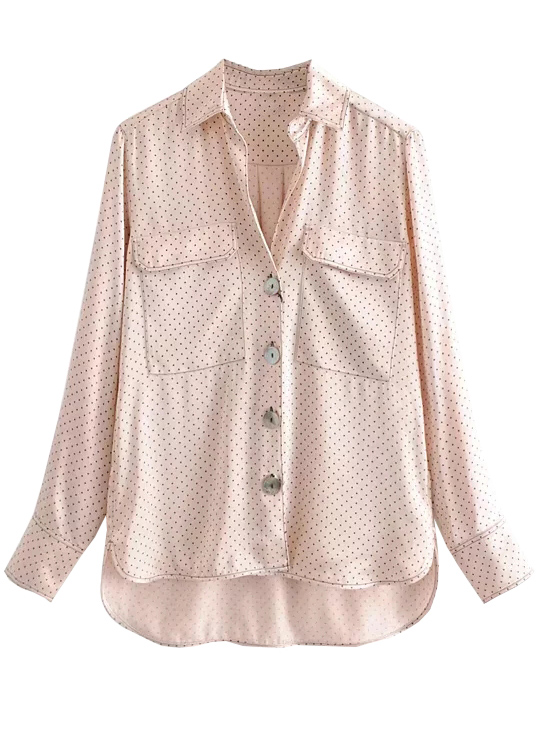 Dot Print Blouse in Pale Pink