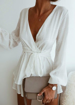Long Sleeve Romper with Front Waist Tie