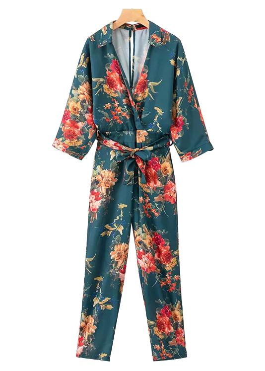 Open Back Floral Jumpsuit in Teal