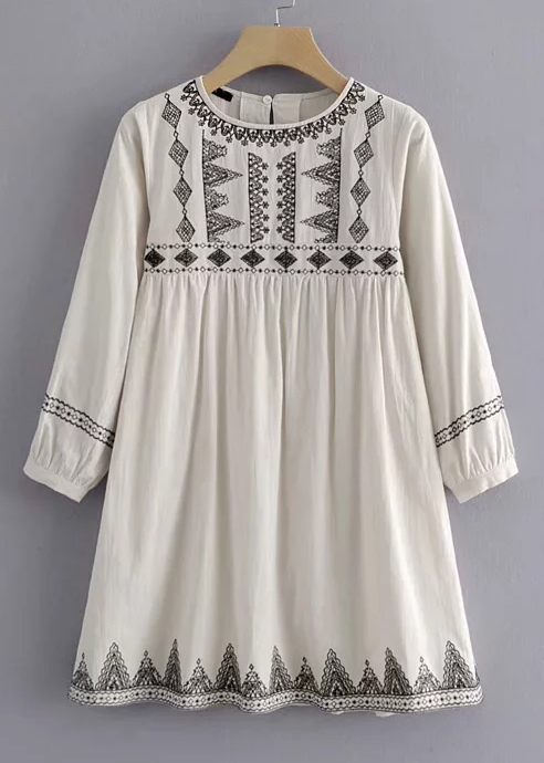 Embroidered Dress in Cream