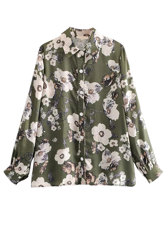 Long Sleeve Floral Blouse in Olive