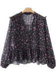 Button Front Floral Blouse in Black