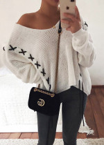 Contrast Lace-Up Detail Oversize Sweater in White