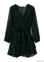 Long Sleeve Dot Print Dress