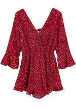 Dot Print Bell Sleeve Romper in Red