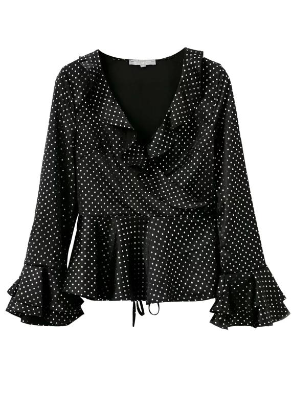 Dot Print Wrap Blouse in Black