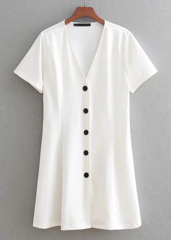 Contrast Button Front Dress