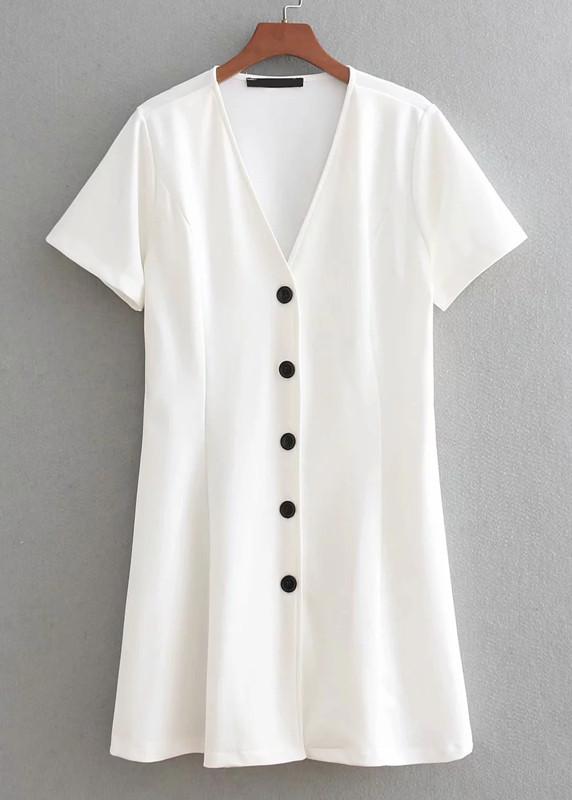 Contrast Button Front Dress