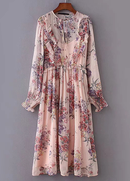 Smock Cuff Sleeve Floral Maxi Dress in Blush
