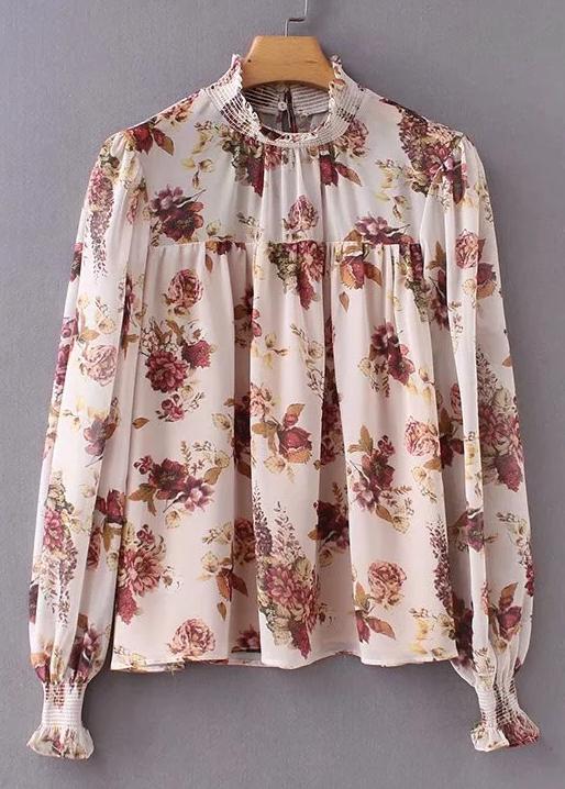 Smock Neck Floral Blouse in Blush