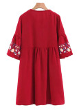 Tie Front Embroidered Dress
