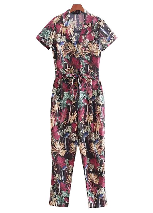 Belted Waist Floral Jumpsuit