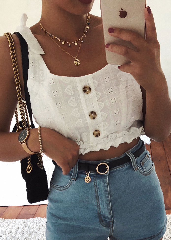 Embroidered Top in White