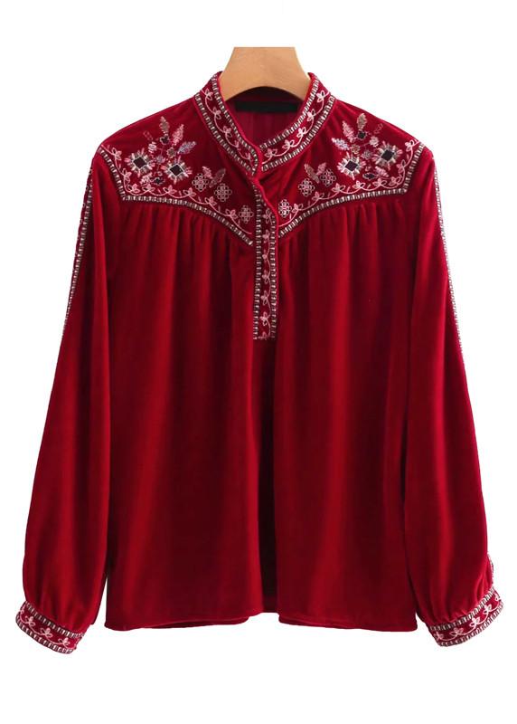 Embroidered Velvet Blouse in Red