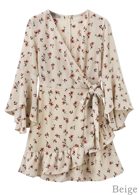 Bell Sleeve Floral Wrap Dress
