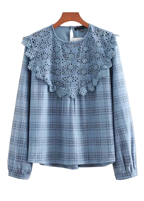Embroidered Eyelet Detail Blouse in Blue