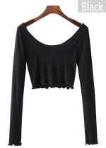 【SALE】Long Sleeve Crop Blouse
