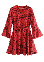 Dot Print Bell Sleeve Dress in Red