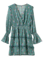 Bell Sleeve Frill Detail Floral Dress in Green