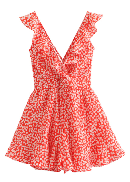Frill Floral Romper in Red