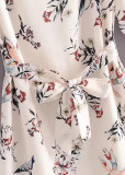 Belted Waist Floral Dress in White