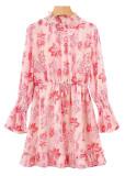 Bell Sleeve Smock Neck Floral Dress in Pink