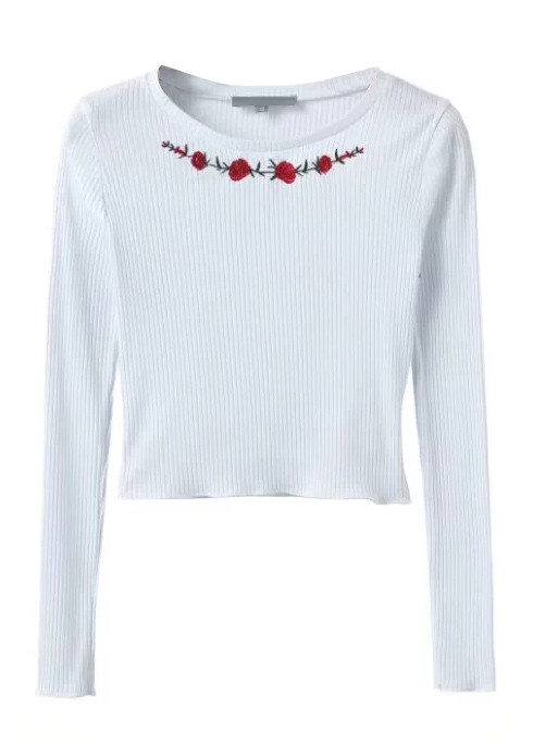 Embroidered Long Sleeve Knit Crop Blouse