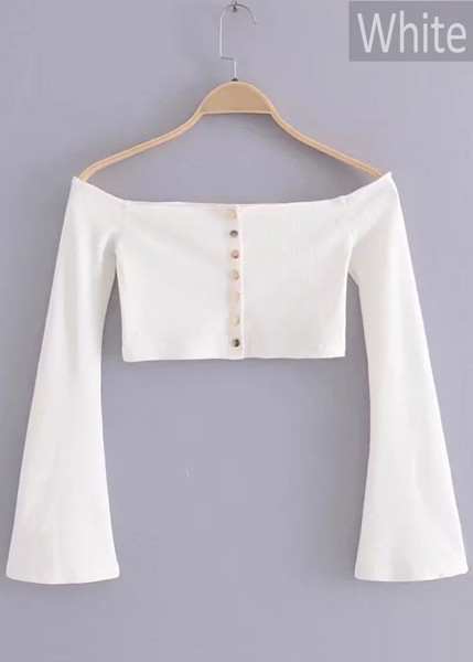 Buttoned Front Bell Sleeve Crop Top