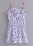 Cherry Short Dress in Blue