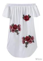 Silky Off Shoulder Embroidered Dress