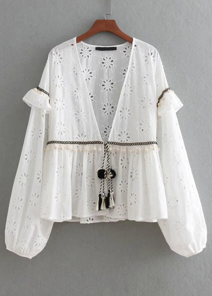 Fringed Tie Front Embroidered Eyelet Blouse in White