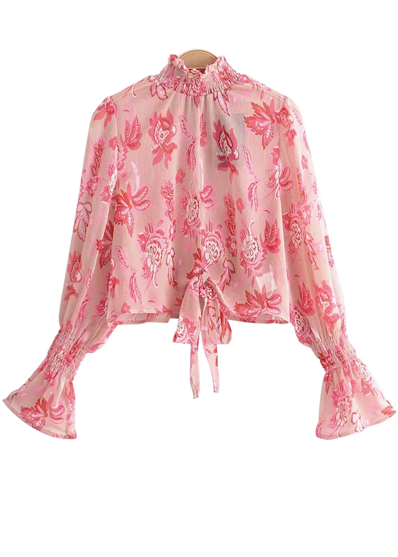 Smock Cuff Bell Sleeve Floral Blouse in Pink