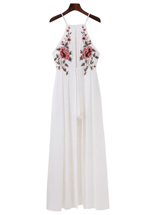 X-Back Embroidered Maxi Dress with Mini Ladder Cut-Out Detail