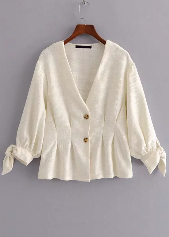 Button Front Self-Tie Sleeve Blouse in Ivory