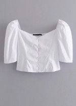 Puff Sleeve Button Front Crop Blouse