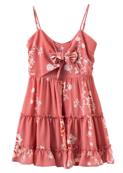 Melon Front Knot Frill Floral Dress